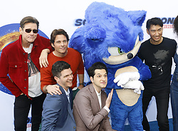 Haruki Satomi, James Marsden, Ben Schwartz, Jim Carrey and Jeff Fowler at the Los Angeles premiere of 'Sonic the Hedgehog' held at Paramount Theatre in Los Angeles, USA on January 25, 2020.