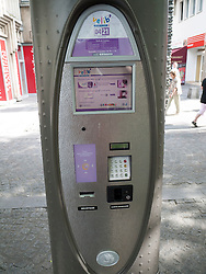 Meter for Velib, public bicycle rental programme in Paris, France.