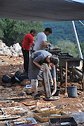 Israel, Galilee, Manot cave. Archaeological excavations by the Israel Antiquities Authority have unearthed prehistoric remains spaning thousands of years. The cave was discovered in 2008