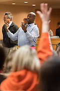 U.S. Sen. Tim Scott answers a question from a constituent at a town hall meeting February 18, 2017 in Mount Pleasant, South Carolina. Hundreds of concerned residents turned up for the meeting to address their opposition to President Donald Trump during a vocal meeting held by U.S. Rep. Mark Sanford and Senator Scott.