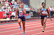 Dafne Schippers (NED) finishes second in the 100m Women final during the Muller Anniversary Games at the London Stadium, London, England on 9 July 2017. Photo by Jon Bromley.