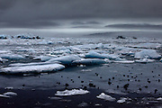 Icebergs in the very picturesque but rainy Jökulsárlón lagoon in South-East Iceland