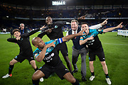 Niall Horan, Didier Drogba, Usain Bolt, Piers Morgan and Robbie Keane celebrate victory