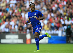 """Chelsea's Michy Batshuayi during the Community Shield at Wembley, London. PRESS ASSOCIATION Photo. Picture date: Sunday August 6, 2017. See PA story SOCCER Community Shield. Photo credit should read: Nigel French/PA Wire. RESTRICTIONS: EDITORIAL USE ONLY No use with unauthorised audio, video, data, fixture lists, club/league logos or """"live"""" services. Online in-match use limited to 75 images, no video emulation. No use in betting, games or single club/league/player publications."""