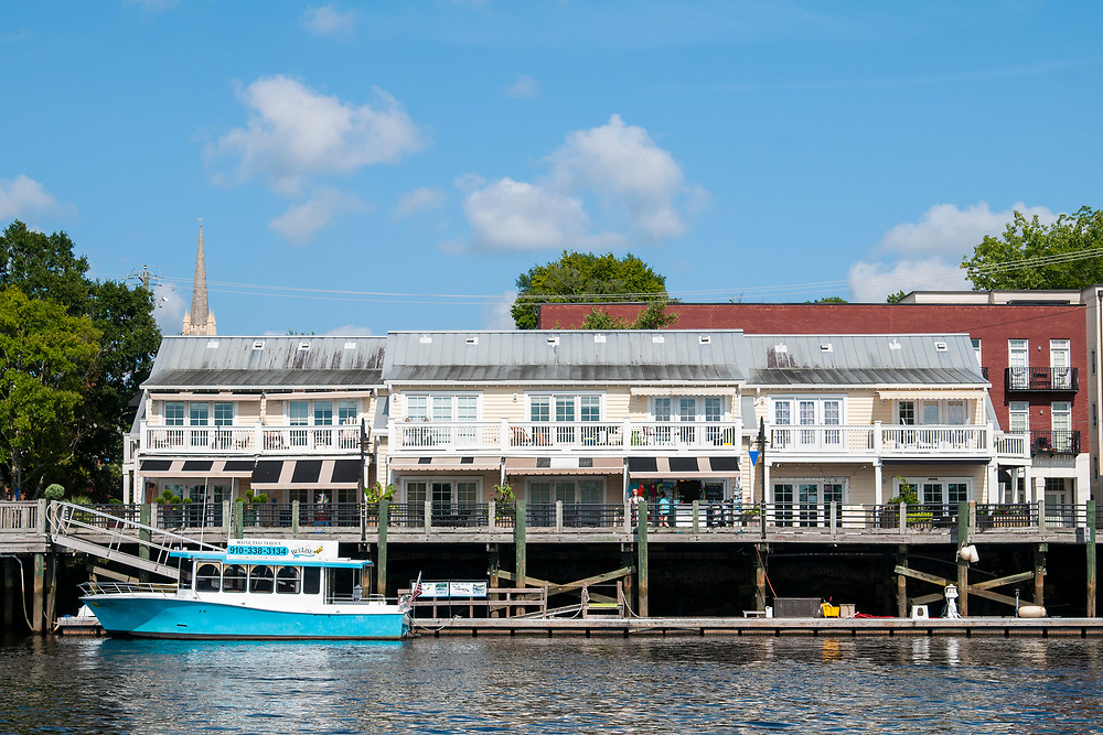 View of shops along the Cape Fear Riverwalk during the Wilmington Water Tours in Wilmington, North Carolina on Monday, August 9, 2021. Copyright 2021 Jason Barnette