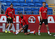 Gareth Bale of Wales (l), Joe Ledley of Wales © and Aaron Ramsey of Wales (r) in action during the Wales football team training at the Cardiff city Stadium in Cardiff , South Wales on Friday 1st September 2017.  the team are preparing for their FIFA World Cup qualifier home to Austria tomorrow.  pic by Andrew Orchard, Andrew Orchard sports photography