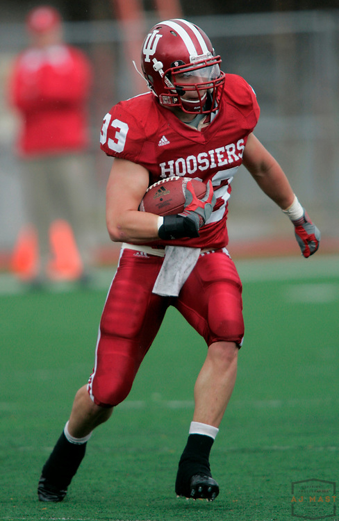 19 April 2008: Joe Kleinsmith (33) as the Indiana Hoosiers played their Cream and Crimson scrimmage college football game in Bloomington, Ind.
