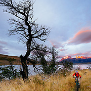 Riding Laguna Azul to Laguna Cebolla - beginning right at sunrise Los Torres and the Paine Massive in the background.