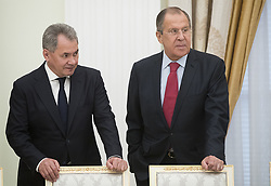 May 30, 2017 - Moscow, RUSSIA - Russian Defense Minister Sergei Shoigu, left, and Foreign Minister Sergey Lavrov talk prior a meeting with Saudi Deputy Crown Prince and Defense Minister Mohammed bin Salman in Moscow's Kremlin, Russia, Tuesday, May 30, 2017. (Credit Image: © Prensa Internacional via ZUMA Wire)