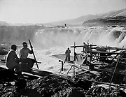 9969-561007-01. Indians fishing at the top of Downes Channel, Celilo Falls, October 7, 1956