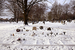 Snow comes to Norwich, UK February 2021. Rosary Cemetery - cremation memorials. Opened in 1819, first non-denominational burial ground in the UK