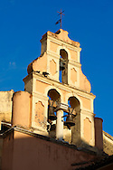 Church Bell Tower of a Greek Orthodox Church, Corfu Old Town, Greek Ionian Islands .<br /> <br /> If you prefer to buy from our ALAMY PHOTO LIBRARY  Collection visit : https://www.alamy.com/portfolio/paul-williams-funkystock/corfugreece.html <br /> <br /> Visit our GREECE PHOTO COLLECTIONS for more photos to download or buy as wall art prints https://funkystock.photoshelter.com/gallery-collection/Pictures-Images-of-Greece-Photos-of-Greek-Historic-Landmark-Sites/C0000w6e8OkknEb8