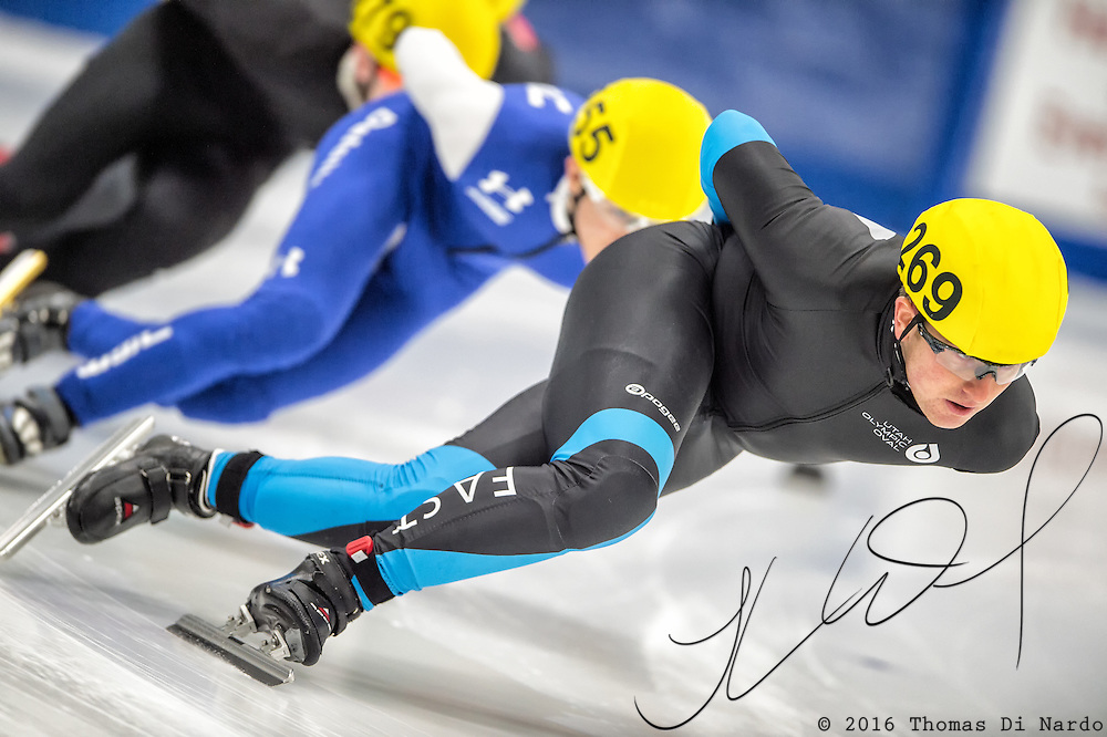 March 18, 2016 - Verona, WI - Tyler Kroll, skater number 269 competes in US Speedskating Short Track Age Group Nationals and AmCup Final held at the Verona Ice Arena.