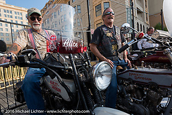 Mike Bell of Texas riding his 1916 Harley-Davidson next to Rowdy Schenck of New Mexico on his 1915 Harley-Davidson on the Atlantic City boardwalk at the start of the Motorcycle Cannonball Race of the Century. Stage-1 from Atlantic City, NJ to York, PA. USA. Saturday September 10, 2016. Photography ©2016 Michael Lichter.