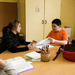 Aide aux devoirs, a La Chaumiere, Maison d'enfants à caractere social. Vilcey-sur-Trey (54), France. 10 mars 2010. Photo : Antoine Doyen