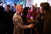 MUMBAI, INDIA – JANUARY 16, 2020: Amazon president Jeff Bezos greets Bollywood celebrities at a blue carpet event organized by Amazon Prime Video.