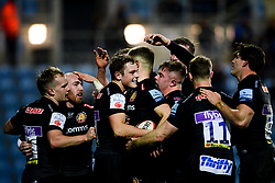 Tom Wyatt of Exeter Braves celebrates scoring his sides second try of the game  - Mandatory by-line: Ryan Hiscott/JMP - 16/12/2019 - RUGBY - Sandy Park - Exeter, England - Exeter Braves v Bath United - Premiership Rugby Shield