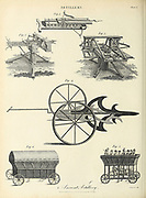 Copperplate engraving of various Ancient Artillery From the Encyclopaedia Londinensis or, Universal dictionary of arts, sciences, and literature; Volume II;  Edited by Wilkes, John. Published in London in 1810