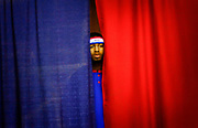 """Harlem Globetrotter """"Ant Atkinson"""" peers out on the crowd gathered at their """"Magical Memories"""" world tour held at the Robert Collins Arena at Brookdale Community College in Lincroft, New Jersey on March 16, 2010."""