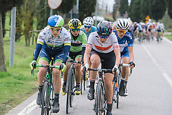 Gracie Elvin and Alena Amialusik setting the pace of the chase group - 2016 Strade Bianche - Elite Women, a 121km road race from Siena to Piazza del Campo on March 5, 2016 in Tuscany, Italy.