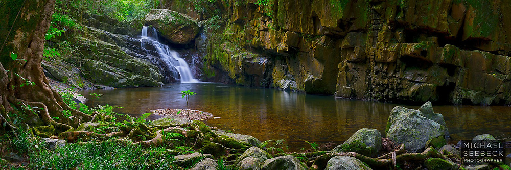 A panoramic photograph of a beautiful waterfall and pool in a rainforest creek, Far North Queensland.<br /> <br /> Limited Edition of 125