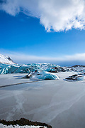 Glacial tongue of Svinafellsjokull glacier an outlet glacier of Vatnajokull, the largest ice cap in Europe, South Iceland