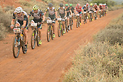 Doug Brown and Barti Bucher of Team Meerendal Songo Specialized  (Grand Master leaders) lead a bunch during stage 1 of the 2014 Absa Cape Epic Mountain Bike stage race held from Arabella Wines in Robertson, South Africa on the 24 March 2014<br /> <br /> Photo by Greg Beadle/Cape Epic/SPORTZPICS