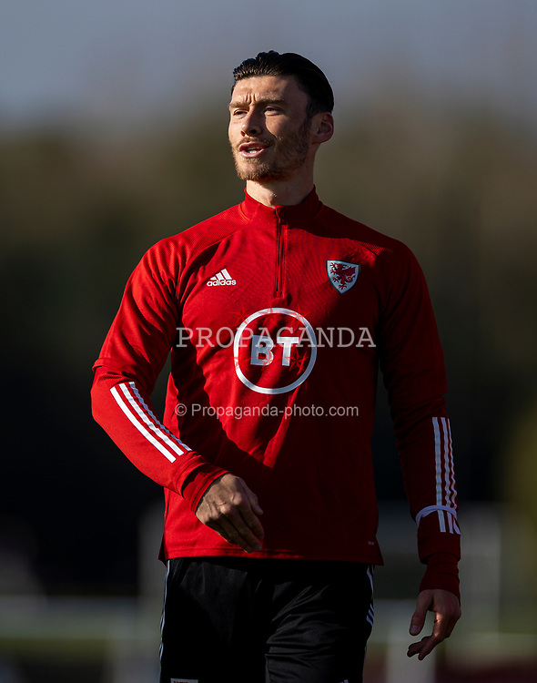 CARDIFF, WALES - Wednesday, October 7, 2020: Wales' Kieffer Moore during a training session at the Vale Resort ahead of the International Friendly match against England. (Pic by David Rawcliffe/Propaganda)