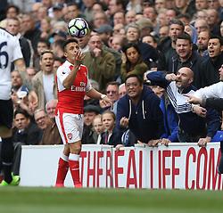 30 April 2017 London : Premier League Football : Tottenham Hotspur v Arsenal :<br /> a Tottenham fan enquires about the lip injury of Alexis Sanchez of Arsenal.<br /> Photo: Mark Leech