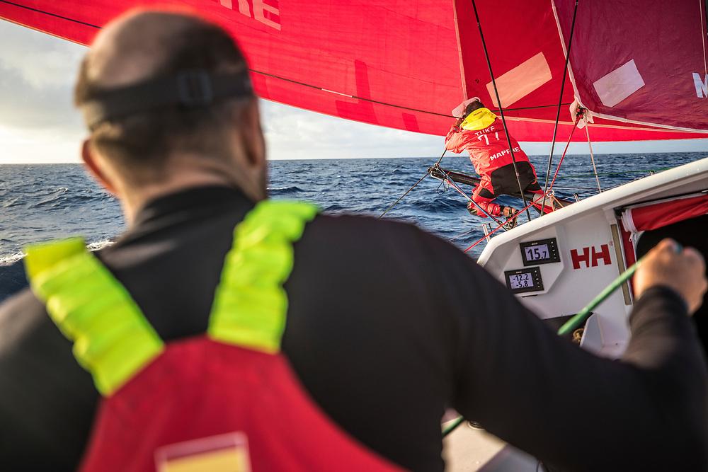 Leg 02, Lisbon to Cape Town, day 14, on board MAPFRE Blair Tuke setting up the outrigger. Photo by Ugo Fonolla/Volvo Ocean Race. 18 November, 2017