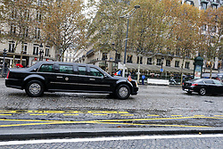 November 11, 2018 - Paris, Ile-de-France, France - The armored limousine known as ''The Beast'' carrying US president Donald Trump arrives on the Champs Elysées avenue during a ceremony at the Arc de Triomphe in Paris on November 11, 2018 as part of commemorations marking the 100th anniversary of the 11 November 1918 armistice, ending World War I. (Credit Image: © Michel Stoupak/NurPhoto via ZUMA Press)