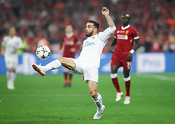 Dani Carvajal of Real Madrid in action during the UEFA Champions League final football match between Liverpool and Real Madrid at the Olympic Stadium in Kiev, Ukraine on May 26, 2018. Photo by Andriy Yurchak / Sportida