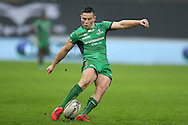 John Cooney of Connacht kicks a conversion. Guinness Pro12 rugby match, Ospreys v Connacht rugby at the Liberty Stadium in Swansea, South Wales on Saturday 7th January 2017.<br /> pic by Andrew Orchard, Andrew Orchard sports photography.