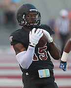 Lindenwood-Belleville WR Harvey Binford (15) from East St. Louis makes for the end zone and a touchdown after snagging a pass in the first quarter.