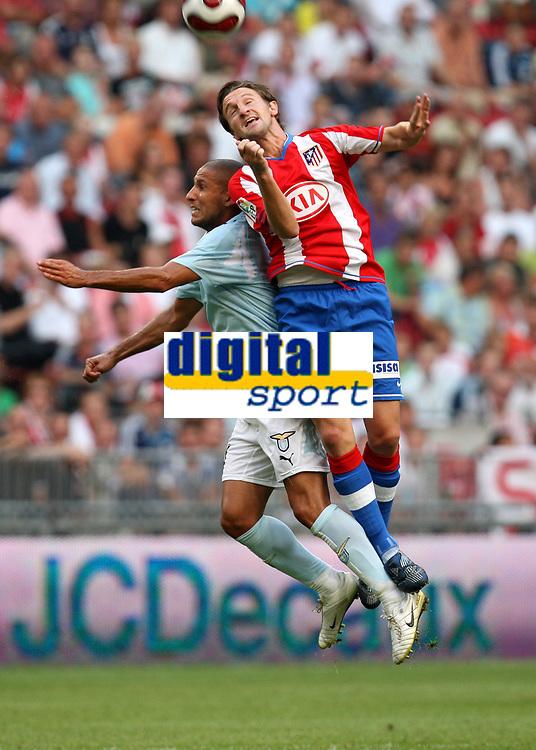 Photo: Maarten Straetemans.<br /> Lazio v Athletico Madrid. LG Amsterdam Tournament. 04/08/2007.<br /> Fabio Firmani (left) with Mista of Atletico