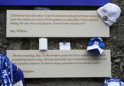 Tributes to the late Ray Wilkins outside Stamford Bridge before the game