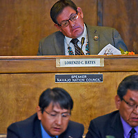 Navajo Nation Council Speaker Lorenzo Bates listens as President Russell Begaye and Vice President Jonathan Nez deliver State of The Nation Address during the 23rd Navajo Nation Council Summer Session on Monday in Window Rock .