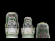 Russian Matryoshka doll under x-ray. The inner smaller dolls can be seen