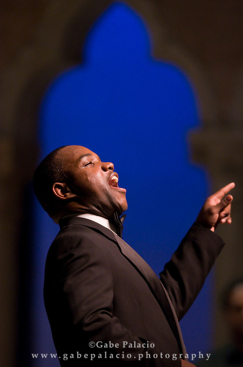 """Lawrence Brownlee, tenor, performing in Donizetti's """"L'elisir d'amore"""" a Bel Canto at Caramoor Presentation in the Venetian Theater of Caramoor in Katonah New York..photo by Gabe Palacio"""
