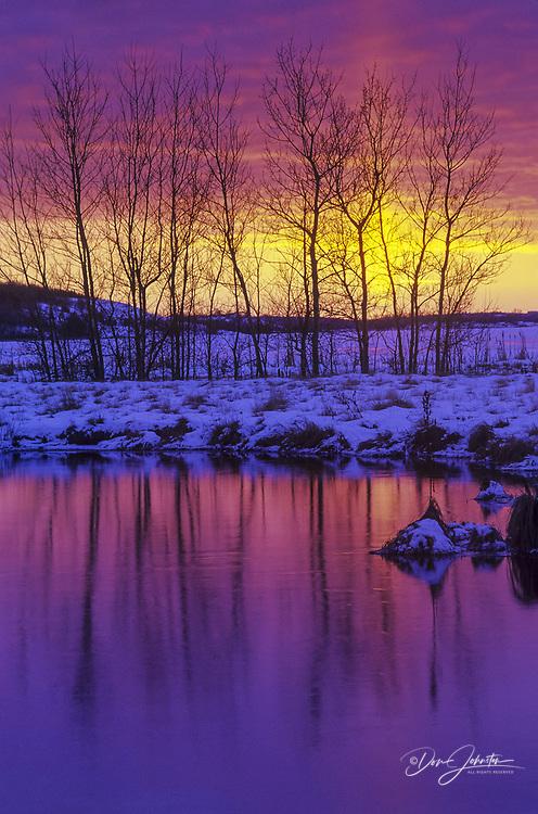 Late winter sunset near Kelly Lake , Greater Sudbury, Ontario, Canada