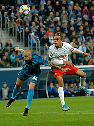 November 5, 2019, St. Petersburg, Russia: Russia. St. Petersburg. November 5, 2019. FC Zenit players Yaroslav Rakitsky and FC RB Leipzig Yussuf Poulsen (left to right) in the UEFA Champions League group stage match between the Zenit teams (St. Petersburg, Russia) and RB Leipzig  (Credit Image: © Andrey Pronin/ZUMA Wire)