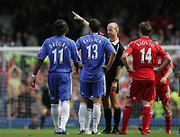 Photo: Lee Earle.<br /> Chelsea v Liverpool. The Barclays Premiership. 17/09/2006. Ref Mike Riley sends off Chelsea's Michael Ballack.