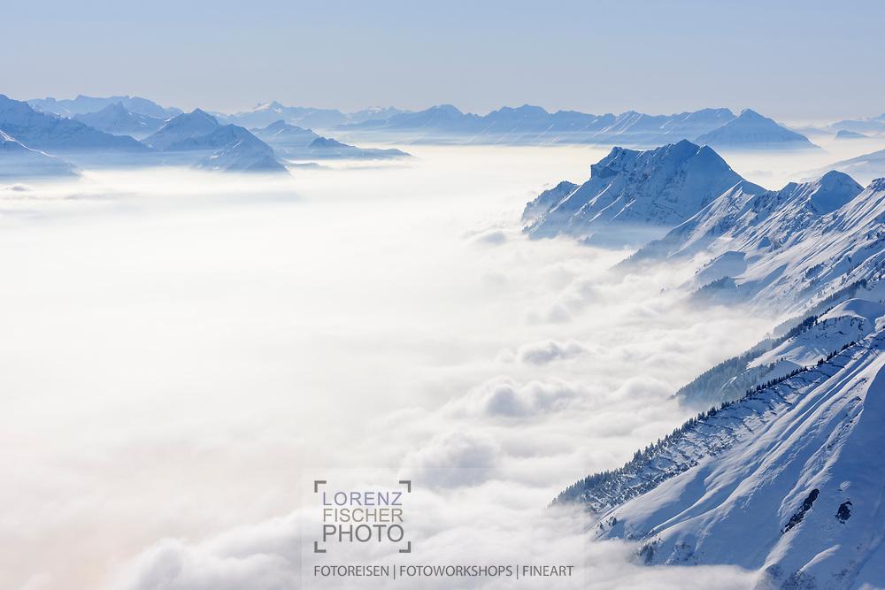 Winterliche Impressionen vom Brienzer Rothorn mit Nebelmeer und Berner Alpen. Blick Richtung Brienzer- und Thunersee