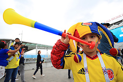 A young Colombia fan shows his support ahead of the FIFA World Cup 2018, round of 16 match at the Spartak Stadium, Moscow.