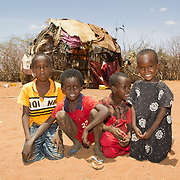 Somali children, from a relief recipient family in Wajir in Kenya's drought-prone North Eastern Province.