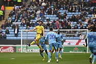Bristol Rovers midfielder Ed Upson (6) heads the ball during the EFL Sky Bet League 1 match between Coventry City and Bristol Rovers at the Ricoh Arena, Coventry, England on 7 April 2019.