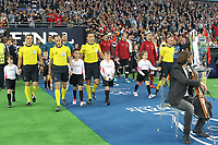 KIEV, UKRAINE - MAY 26: Team walk on the pitch before the UEFA Champions League final between Real Madrid and Liverpool at NSC Olimpiyskiy Stadium on May 26, 2018 in Kiev, Ukraine. (MB Media)