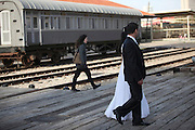 Traditional Jewish Wedding bride and groom on route to wedding