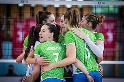 Team of Slovenia rejoicin during volleyball match between Slovenia and Portugal in CEV Volleyball European Silver League 2021, on 12 of June, 2021 in Dvorana Ljudski Vrt, Maribor, Slovenia. Photo by Blaž Weindorfer / Sportida