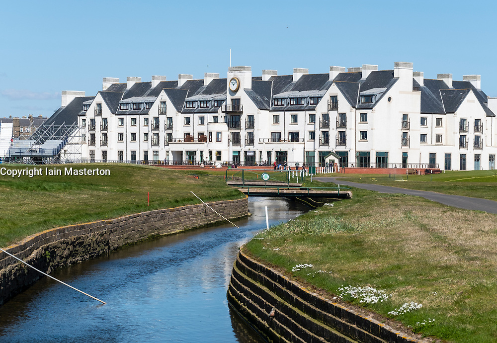 View of Carnoustie Golf Course Hotel behind 18th Green with Barry Burn in foreground at Carnoustie Golf Links in Carnoustie, Angus, Scotland, UK. Carnoustie is venue for the 147th Open Championship in 2018.